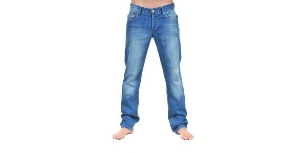 Pánské světle modré džíny s šisováním Giorgio Di Mare