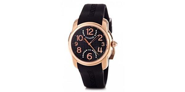 Dámské zlaté náramkové hodinky Lancaster s černým silikonovým řemínkem a kamínky