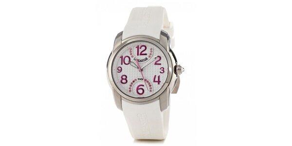 Dámské ocelové náramkové hodinky Lancaster s bílým silikonovým řemínkem…