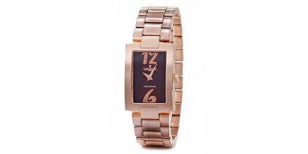 Dámské ocelové hodinky Lancaster v barvě růžového zlata