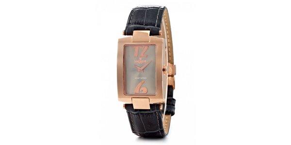 Dámské zlaté hodinky Lancaster s černým koženým řemínkem