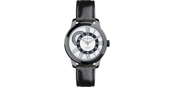 Pánské černé náramkové hodinky Lancaster s koženým řemínkem