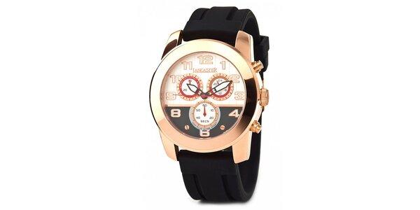 Pánské zlaté náramkové hodinky Lancaster s černým silikonovým řemínkem