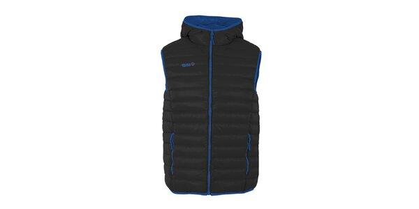 Pánská černá péřová vesta s kapucí Izas