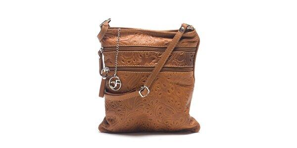 Dámská koňakově hnědá kožená taška se vzorem Carla Ferreri