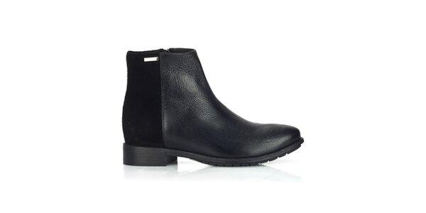 Dámské kožené černé boty na zip Joana and Paola