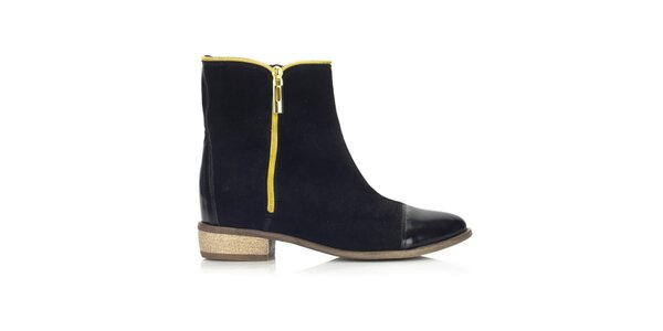 Dámské černé boty se dvěma zipy Joana and Paola