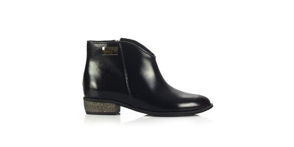 Dámské černé kožené boty Joana and Paola