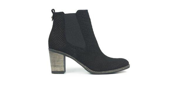 Dámské černé nubukové chelsea boty se šupinkami Joana and Paola