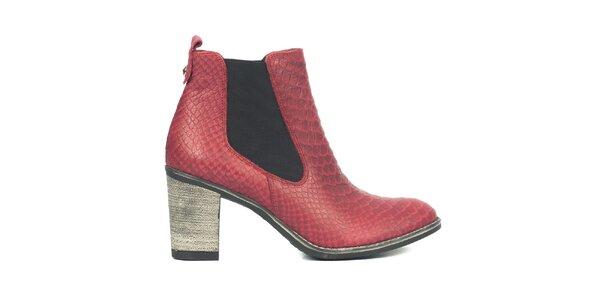 Dámské červené chelsea boty se šupinkami Joana and Paola