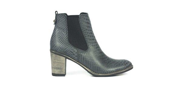 Dámské šedé chelsea boty se šupinkami Joana and Paola