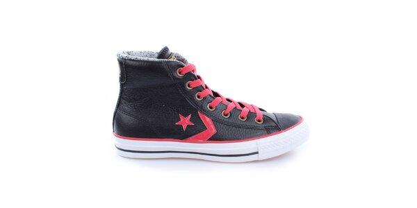 Černé kotníkové tenisky s kontrastními tkaničkami Converse