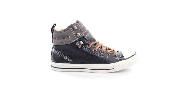 Černé kožené kotníkové tenisky s šedým pruhem Converse