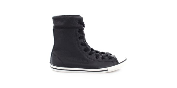 Černé kožené kotníkové tenisky Converse