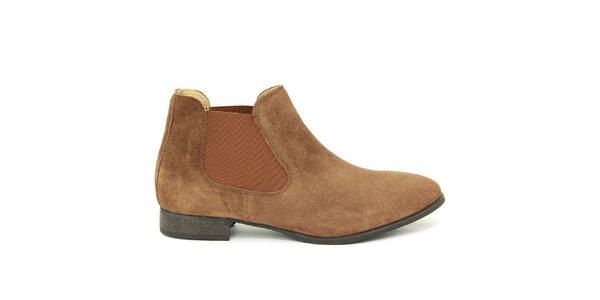 Dámské hnědé semišové kotníčkové boty Giorgio Picino