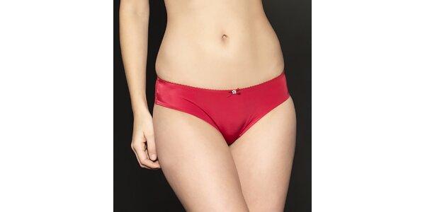 Dámské červené saténové kalhotky After Eden s krajkou