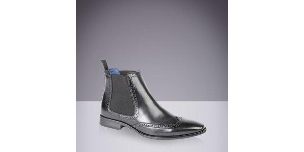 Pánské kožené chelsea boty v černé barvě Route21