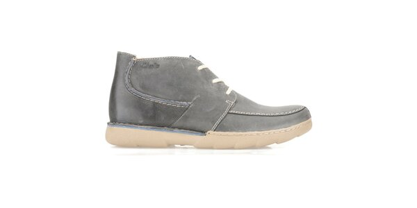 Pánské šedé kožené kotníkové boty Clarks