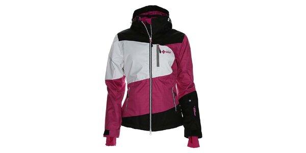 Dámská růžovo-bílo-černá bunda na snowboard Kilpi