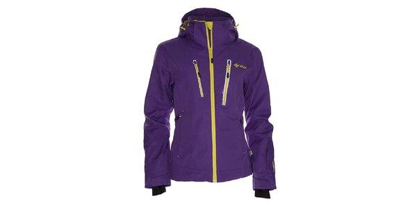 Dámská fialová snowboardová bunda se žlutým zipem Kilpi