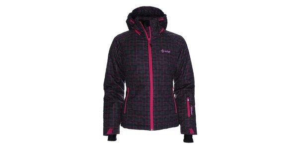 Dámská černá lyžařská bunda s kostkovaným vzorem Kilpi