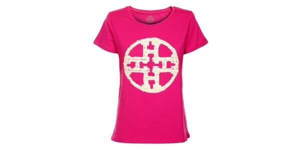 Dámské fuchsiové tričko Hope s krajkovou aplikací