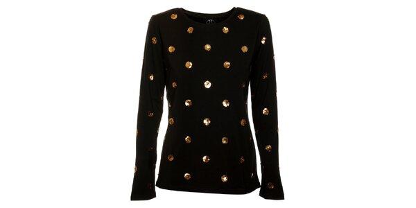 Dámské černé tričko Hope se zlatými flitry