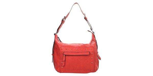 Dámská červená kabelka s ozdobnými cvočky Elite