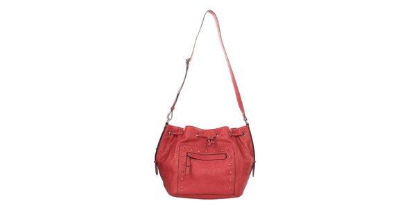 Dámská červená kabelka se cvočky Elite