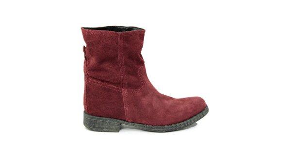 Dámské vínové semišové kotníkové boty Paola Ferri