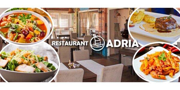 Otevřený voucher na jídlo v restauraci Adria