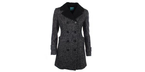 Dámský kabát s černým límcem a knoflíky Phard