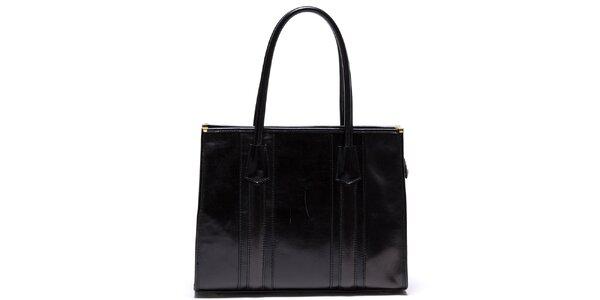Dámská kožená kabelka s pevnými uchy v černé barvě Mangotti