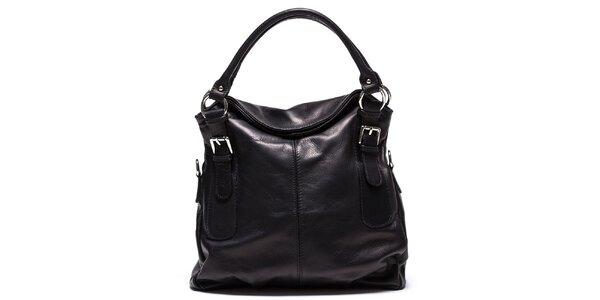 Dámská černá kožená kabelka Mangotti