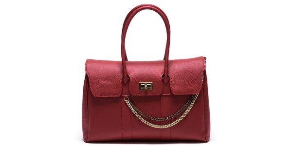 Dámská červená kabelka s řetízkem Mangotti