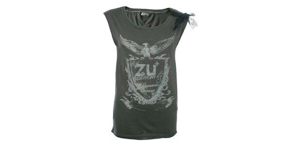 Dámské šedé tričko s potiskem a krajkou na rameni Zu Elements