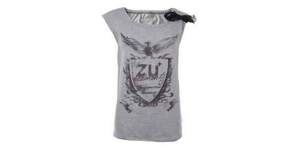 Dámské světle šedé tričko s potiskem a krajkou na rameni Zu Elements