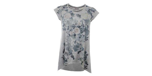 Dámské šedé dlouhé tričko s květinovým potiskem Zu Elements