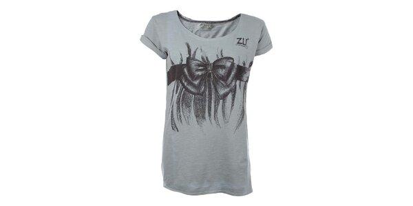 Dámské šedé tričko s mašlí Zu Elements