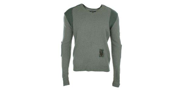 Pánský šedo-zelený svetr s nášivkami Zu Elements