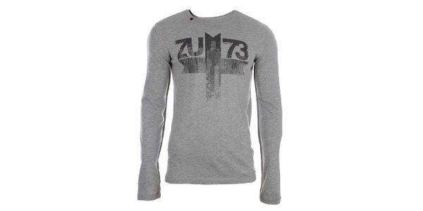 Pánské šedé tričko s dlouhým rukávem a potiskem Zu Elements