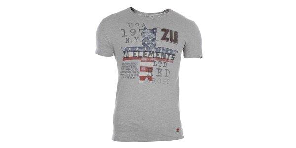 Pánské šedé triko s barevným potiskem Zu Elements