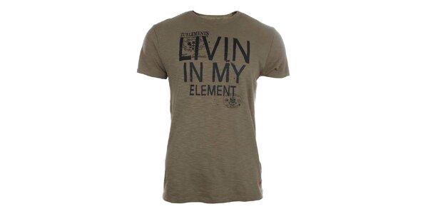 Pánské hnědé tričko s potiskem Zu Elements