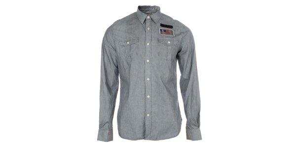 Pánská pruhovaná košile s nášivkou Zu Elements