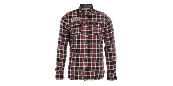 Pánská červeně kostkovaná košile s nášivkou Zu Elements