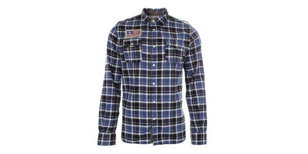 Pánská modře kostkovaná košile s nášivkou Zu Elements