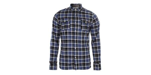 Pánská modře kostkovaná košile s kapsami Zu Elements