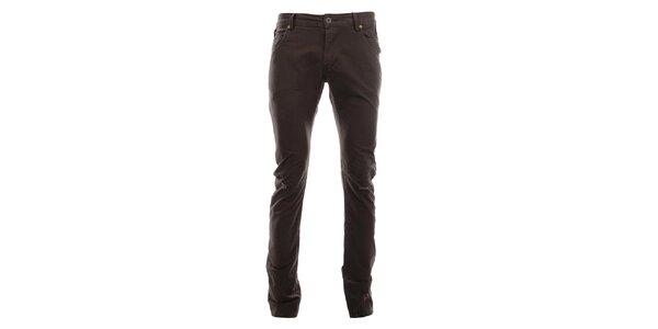 Dámské tmavě hnědé kalhoty s prodřeninami Zu Elements