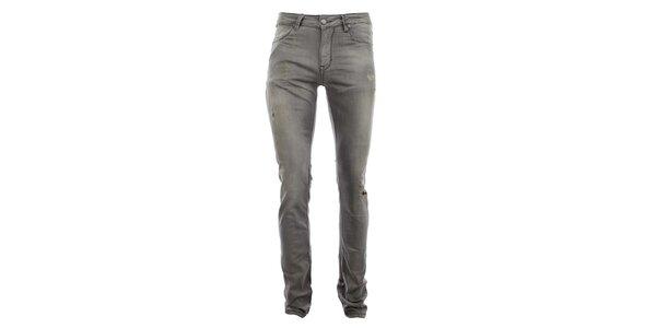 Pánské šedé kalhoty s prodřeninami Zu Elements