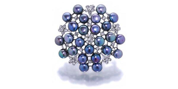 Dámská fialová perlová brož Orchira